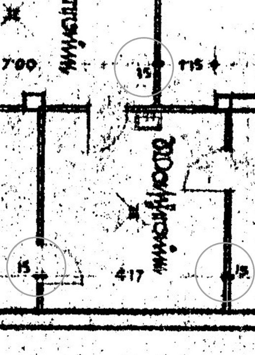 Inventory plan of Krematorium I, enlargement
